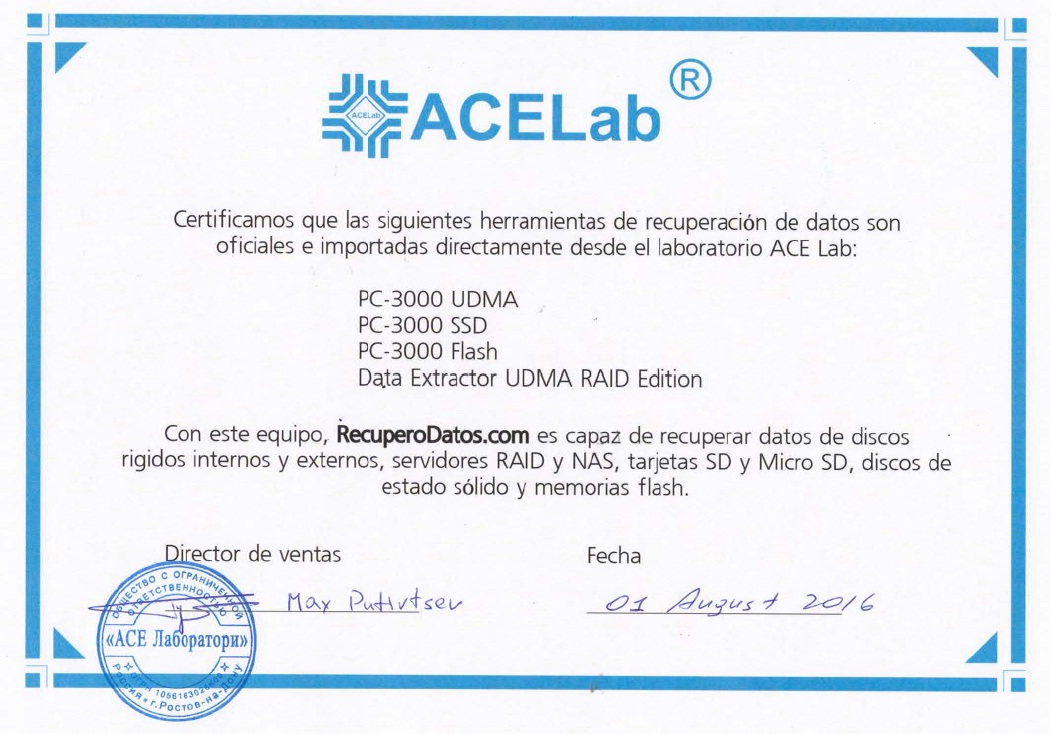 certificate from Ace Laboratories