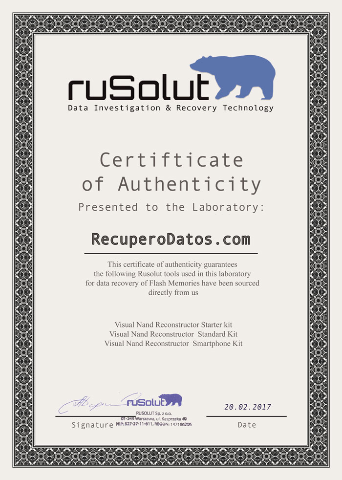 Rusolut tools certificate of authenticity