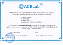 Certificate presented by ACE Laboratory for PC-3000