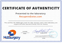 Certificate presented by HDDSurgery
